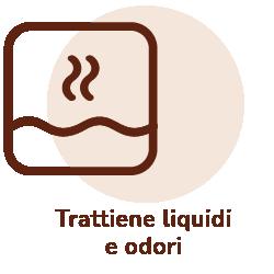 Sacchetto che trattiene liquidi e odori